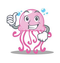 thumbs up cute jellyfish character cartoon vector image