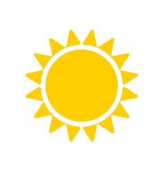 yellow sun icon isolated on white background vector image vector image