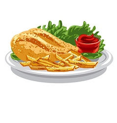 Grilled chicken breast vector