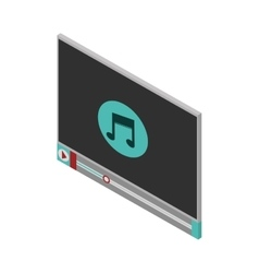 Screen with icon music and play button vector