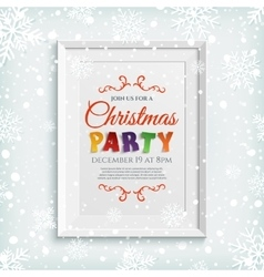 Christmas party poster template in picure frame vector