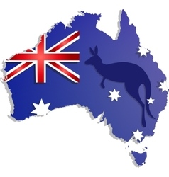 Happy Australia day lettering Map of with flag vector image