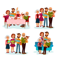 Family at dinner table on sofa and with gifts vector