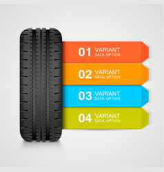 black rubber tire colorful infographics vector image
