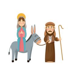 virgin mary joseph donkey scene nativity vector image