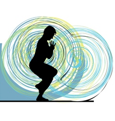 Man meditating and doing yoga vector