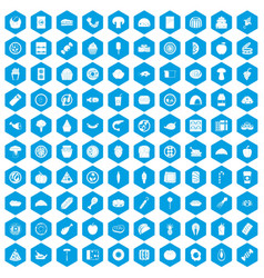 100 meal icons set blue vector