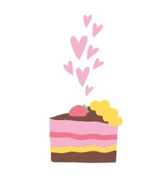 Cute cartoon cake with hearts vector
