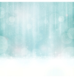Blue winter background with blurry lights vector