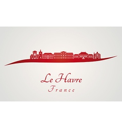 Le havre skyline in red vector