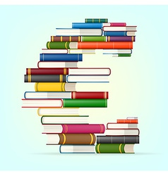 Euro sign from stacks of multi colored books vector