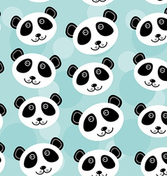 Panda seamless pattern with funny cute animal face vector