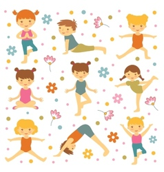 Cute yoga kids vector