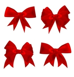 Shiny red satin bow set eps 10 vector