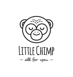 Funny cartoon monkey head logo line style vector