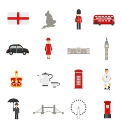 English culture flat icons collections vector