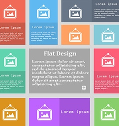 picture icon sign Set of multicolored buttons with vector image
