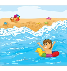 Kid playing in water vector