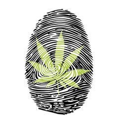 Fingerprint-Marijuana-print vector image