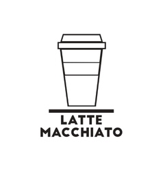 Black icon on white background latte vector