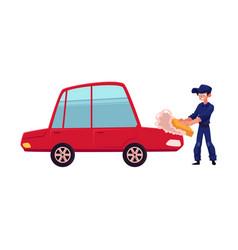 Auto mechanic cleaning washing polishing a car vector