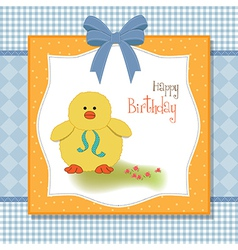 Birthday card with little duck vector