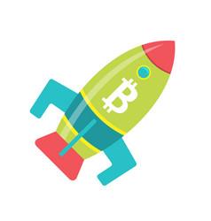 Bitcoin rocket ship launching into space vector