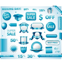 Blue price tags set vector image vector image