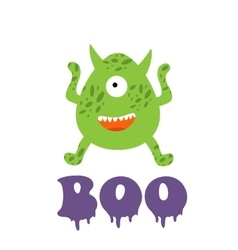 Boo card with funny monster vector image