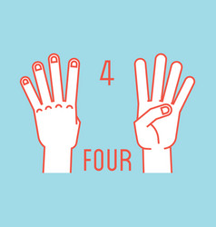 Count on fingers number four gesture stylized vector