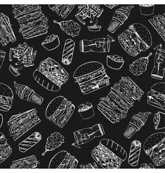 Fast food seamless pattern in doodle style vector