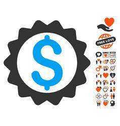 financial seal icon with love bonus vector image