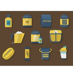 Flat color icons for athlete diet vector image vector image