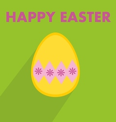 Flat easter egg with wishes on green background vector
