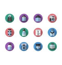 Fragrances round color icons set vector