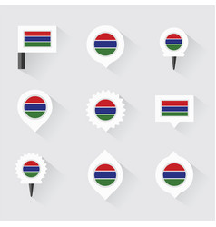 Gambia flag and pins for infographic and map vector
