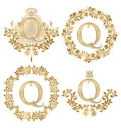 Golden Q letter vintage monograms set Heraldic vector image vector image