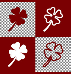 Leaf clover sign bordo and white icons vector