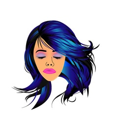Make up and hair graphic- lady with a pout vector