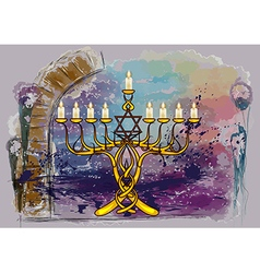 menorah with candles vector image vector image