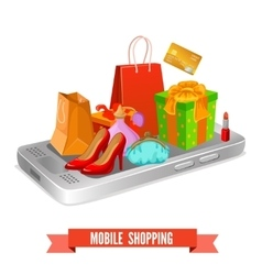 Mobile Shopping Design vector image