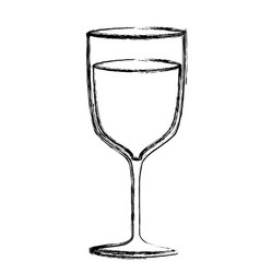 Monochrome sketch silhouette of glass cup vector