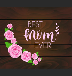mothers day greeting card with abstract roses vector image