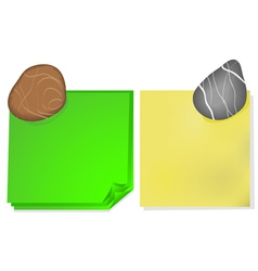 Note paper and a stone vector image