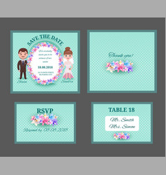 Ornate wedding invitation cars vector