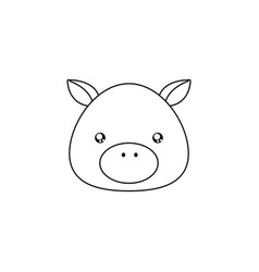 Pig drawing face vector