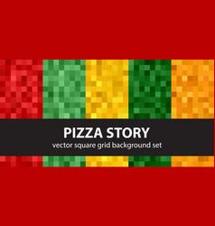 Pixel pattern set pizza story seamless pixel art vector