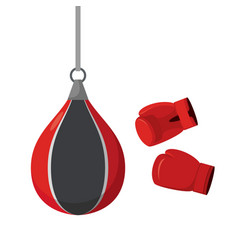 punching bag and gloves attempts on sports vector image