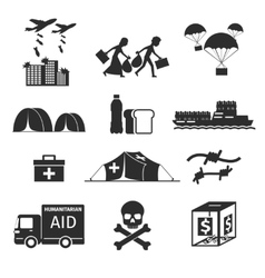 Refugees evacuee concept war victims black icons vector