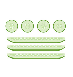 Set of cucumber slices flat icons for food vector